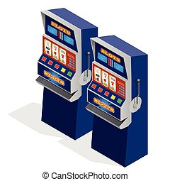 Casino Slot Machines. 3d flat isometric vector illustration.