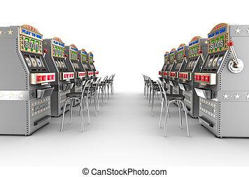 Casino slot machines , white interior