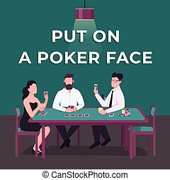 Casino social media post mockup. Put on poker face phrase. ...