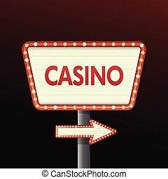 casino, spandoek, achtergrond, meldingsbord