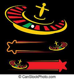 Casino symbol - Set of roulette symbols isolated on black