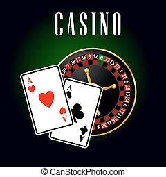 Casino symbol with ace cards over roulette