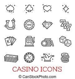 casino, symbolen, vector, set