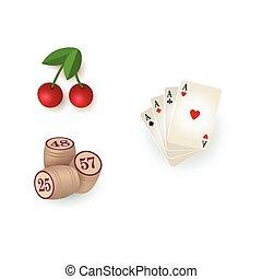 Casino symbols - cards, bingo kegs, jackpot cherry