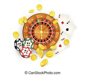 Casino symbols - roulette , chips, cards, coins