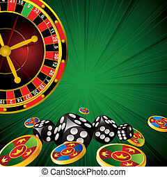 casino symbols roulette wheel, dice and chips on green strip...