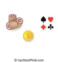 Casino symbols - suits, bingo kegs, golden coin