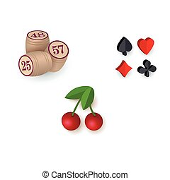 Casino symbols - suits, bingo kegs, jackpot cherry