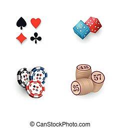 Casino symbols - suits, bingo kegs, tokens, dices