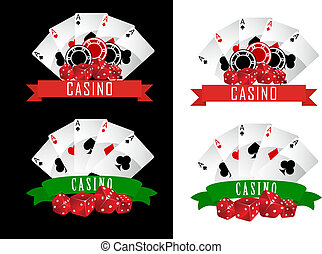 Casino symbols with decorative ribbons, gambling cards, chips and dice on black or white background