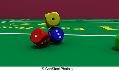 casino table with dices falling into