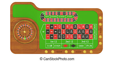 casino table with roulette, 3D rendering
