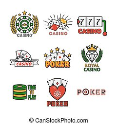 Casino template with colorful logo labels vector set on white