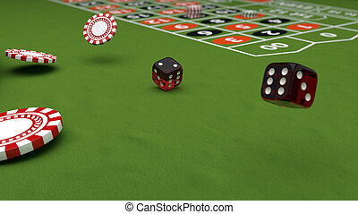 Casino theme, playing chips and red dices on a gaming table, 3d illustration