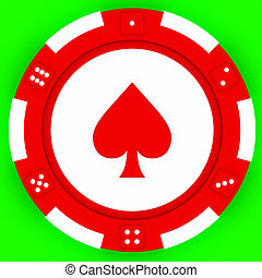 Casino tokens - Colorful casino chips isolated over green...