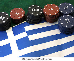 casino tokens for gambling over the flag of Greece