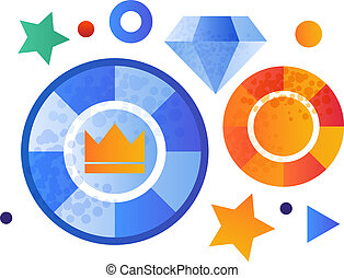 Casino tokens, gambling element vector Illustration on a white background