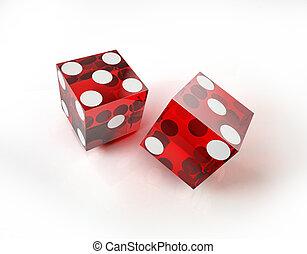 casino, twee, actie, dobbelstenen, witte , surface., rood
