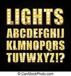casino, vecteur, ou, lettres, jaune, theather, néon lampe, exposition, police