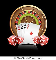 Casino Vector Background with Roulette Wheel, Playing Cards ...
