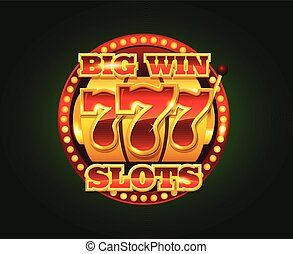 Casino vector golden slots machine with 777 numbers isolated on dark background copyspace