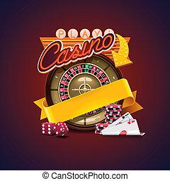 casino, vector, icono