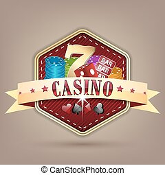 Casino vector illustration with ribbon, chips, dice, card and lucky seven symbol.