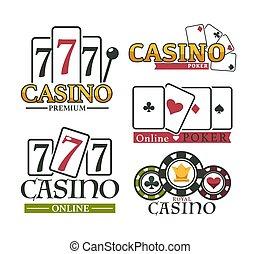 casino, vector, juego, logotipo, póker, conjunto, prima, ...
