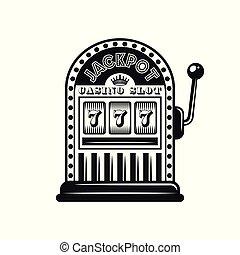 casino, vector, monocromo, objeto, estilo, máquina, ranura