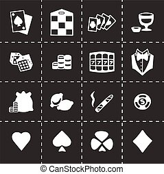 casino, vector, set, pictogram