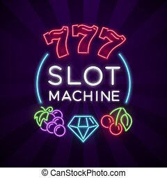Casino vegas vector poster with slot machine bright neon icons