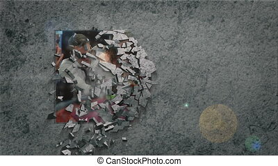 Casino videos breaking through wall