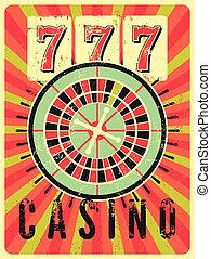 Casino vintage grunge style poster.