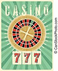 Casino vintage grunge style poster.