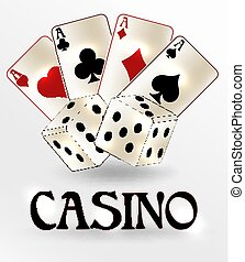 Casino vip background with dice and poker cards, vector illustration