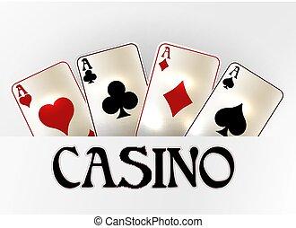 Casino vip invitation banner with poker cards, vector illustration