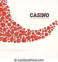 casino, vrijstaand, illustratie, achtergrond., vector, ontwerp, dobbelstenen, geluksspelletjes, zwevend, witte , element.
