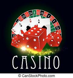 Casino wheel of fortune, poker cards vector poster - Casino...