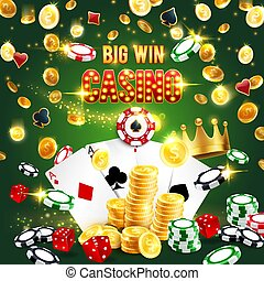 Casino win, poker aces, dice, chips and gold coins