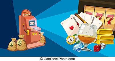 Casino winner horizontal banner, cartoon style