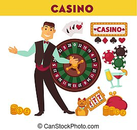 Casino worker and game equipment illustrations set
