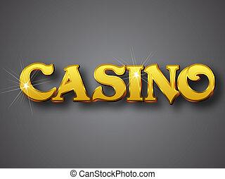 Casino Write in Big Gold 3D Font - Vector illustrator...