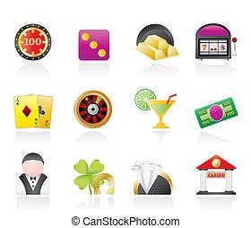 casino, y, juego, iconos