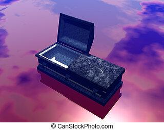 A casket, coffin, the last resting place.