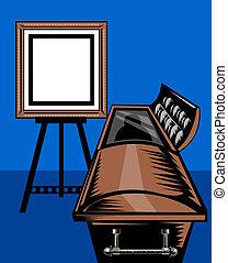 casket coffin with picture frame - illustration of a casket...