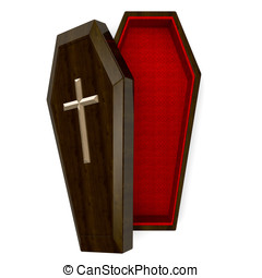 Casket Top View.3D render illustration. Isolated on White.
