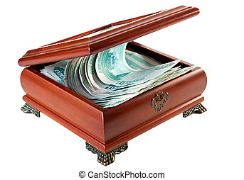 Casket with Russian rubles.