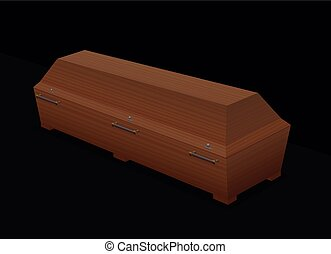 Casket Wooden Coffin Black Background