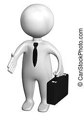 caso, aislado, Plano de fondo, blanco, hombre,  3D