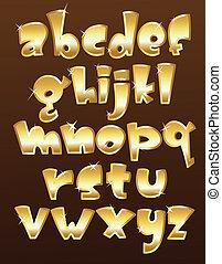 caso, alfabeto, abaixar, ouro